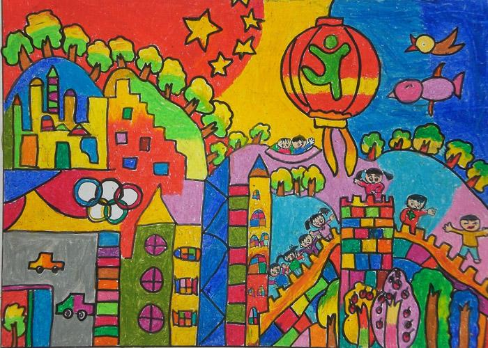 中国风儿童画《梦想中的王国》