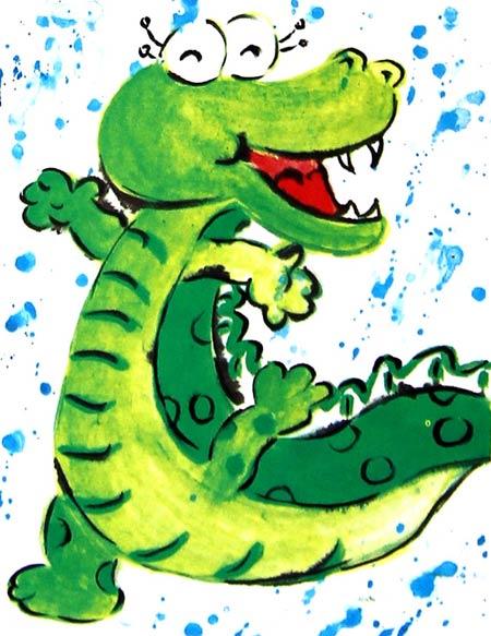 幼儿教育:儿童水彩画《爱洗澡的鳄鱼儿童水彩画图片
