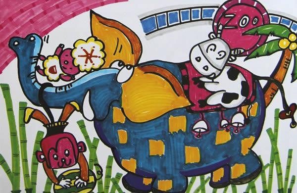 儿童水彩画《动物园》