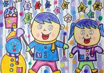 幼儿教育:儿童版画《看看我们堆得小雪人》-中大网校