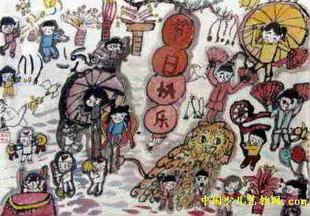 幼儿教育:中国风儿童画《《节日快乐》》-中大网校